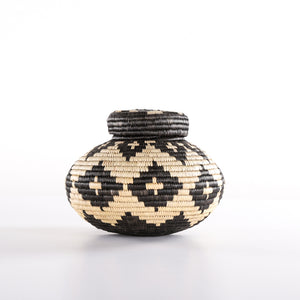 Black and Brown Straw Pot with Star on Cone Shaped Lid