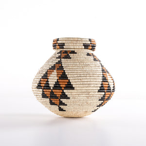 Brown Combo Straw Basket with Cone Shaped Lid (Large)