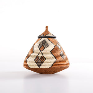 Caramel Brown Combo Straw Basket with Lid