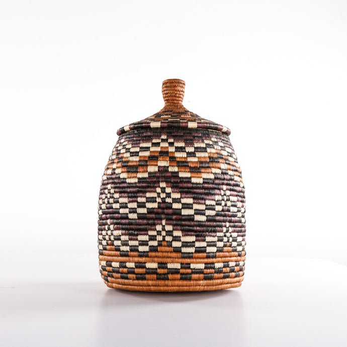 Brown Combo Chequered Basket with Lid