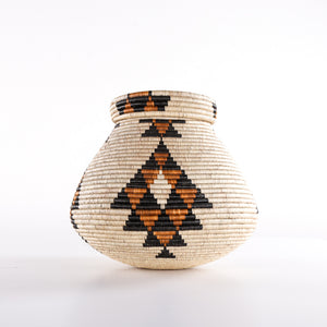 Brown Combo Straw Basket with Triangles on Lid