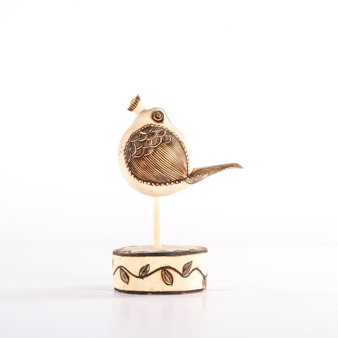 Pouting Wooden Bird on Wooden Stand