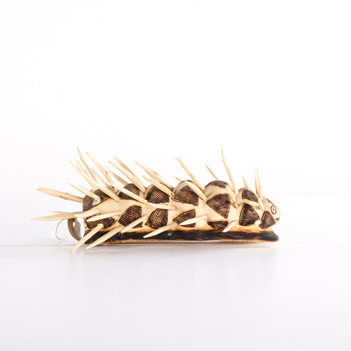 Fat wooden worm with spikes