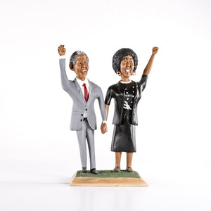 Painted Wooden Carving of Winnie & Nelson Mandela