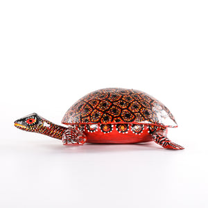 Carved wood turtle with detachable shell