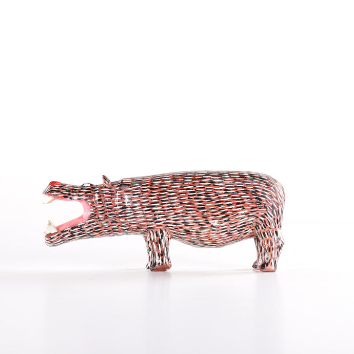 Growling wooden hippo with painted detailed body