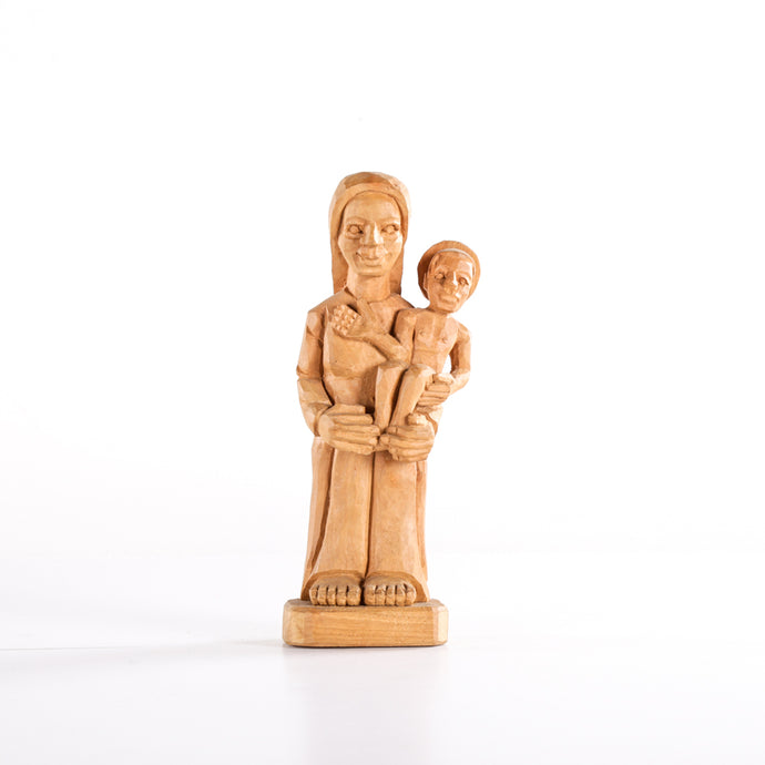 Mother and Child Wooden Sculpture