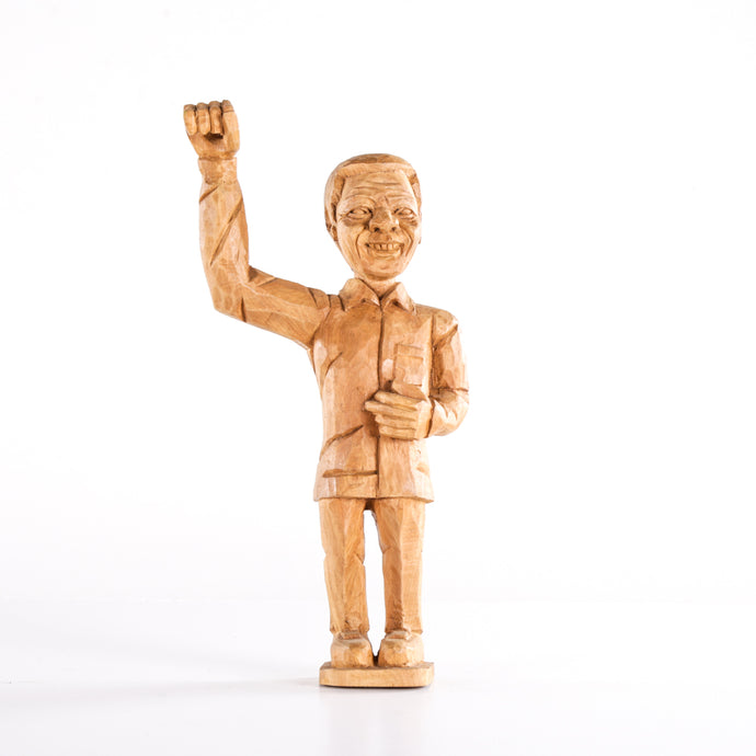 Small Wooden Nelson Mandela Sculpture