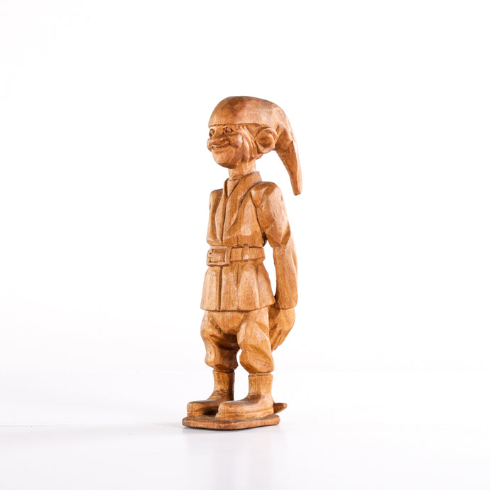 Wooden Figure with Pick and Elf Hat