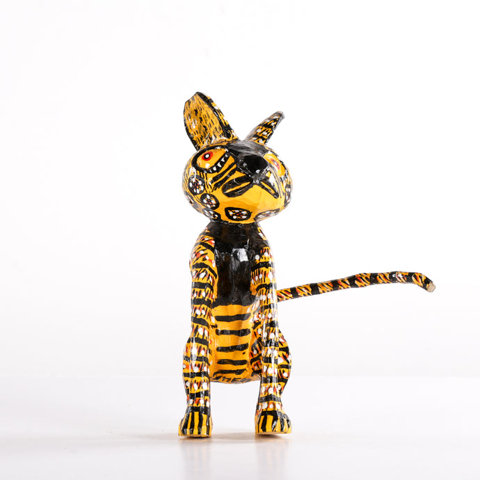 Stripped Wooden Animal with Black Detail & Rigid Tail