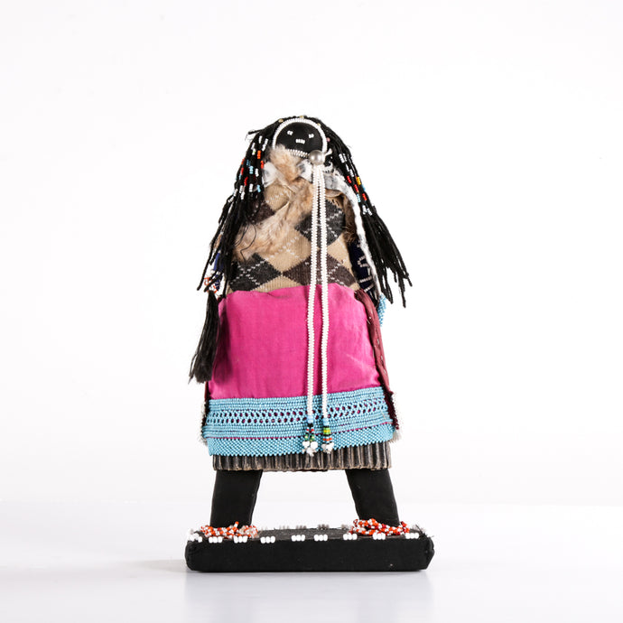 Neatly Beaded Zulu Doll with Red and Blue Skirt
