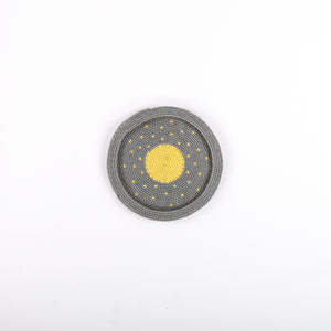 Small Grey Telewire Plate with Yellow Full Circle and Yellow Dots
