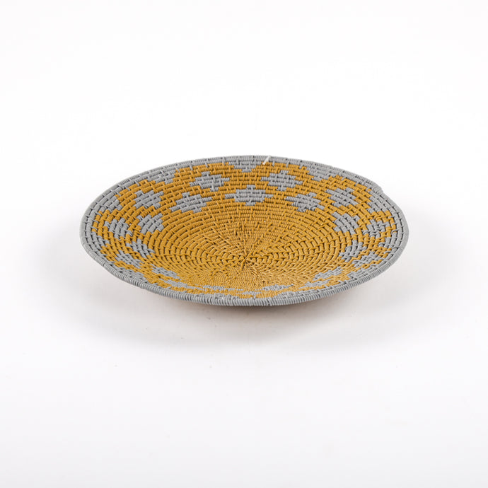 Mustard Hardwire Plate with Grey Diamond Designs on the Edges