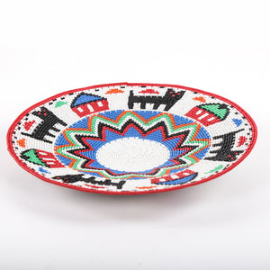 Red and White Telewire Plate with Houses and Black Animal Designs
