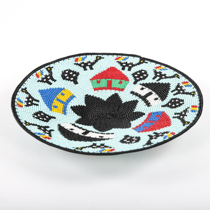Light Blue Telewire Plate with Black Flower and Houses