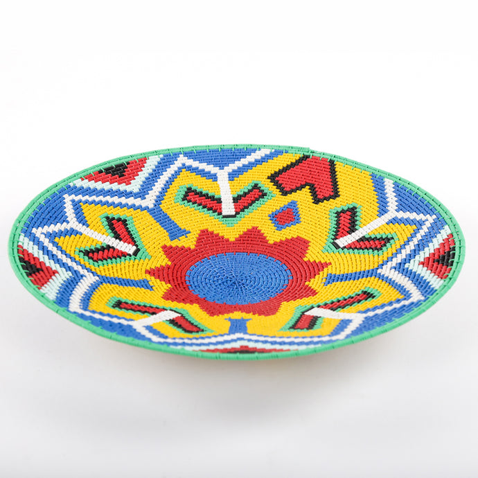 Brightly Coloured Telewire Plate with Red and Blue Flower