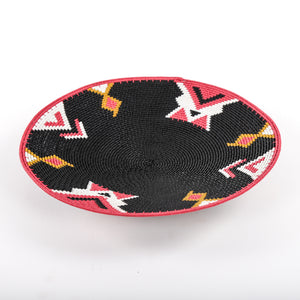 Black and Red Telewire Plate with Arrow Designs