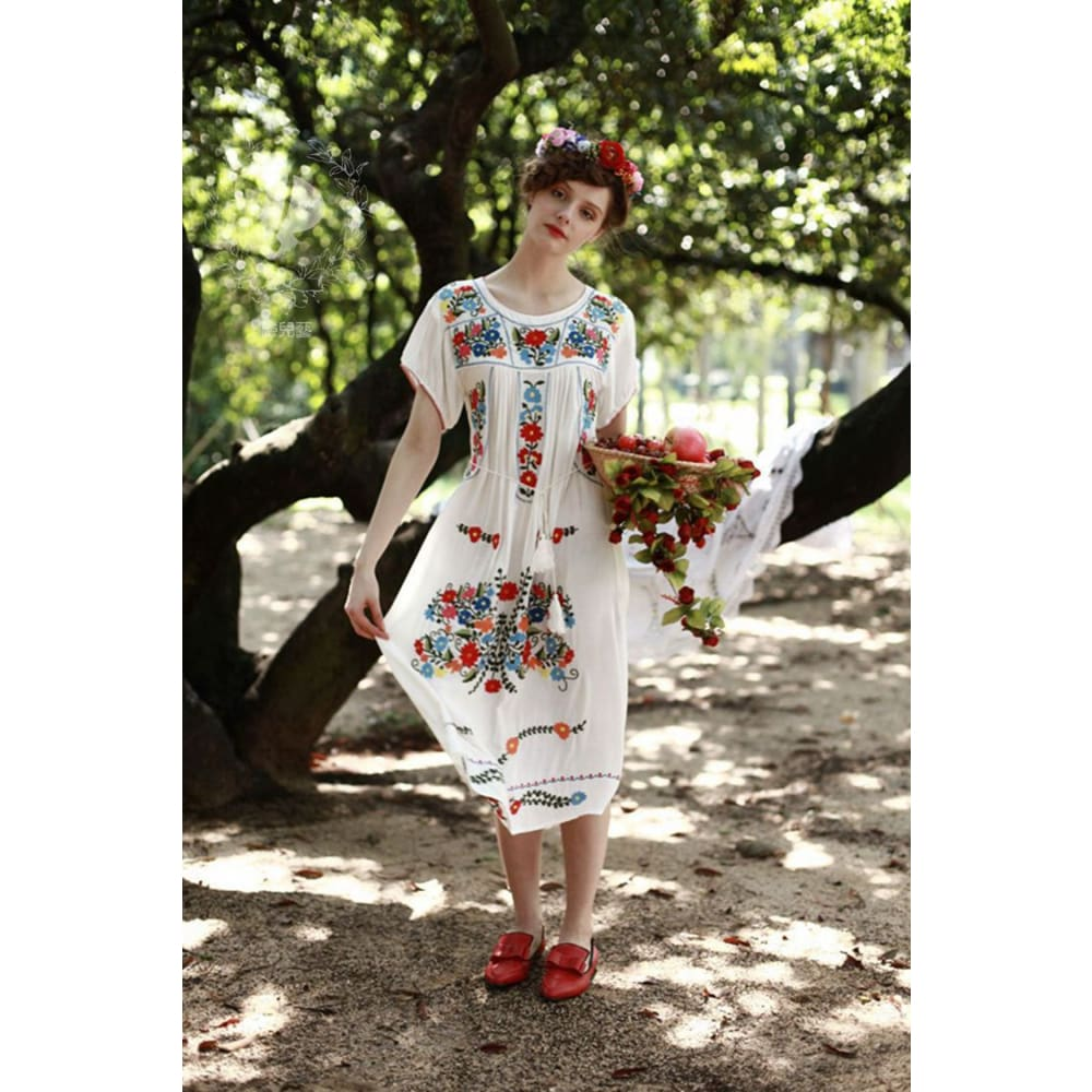 436c114284 Mexican Style Embroidered White Honey Cotton Dress - 1950