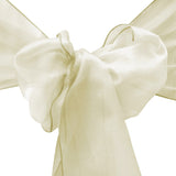 "10pcs Ivory Organza Sash 8""x108"" for Chair Cover Ribbons Bow Wedding Banquet Decor - GWLinens"