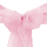 "10pcs Pink Organza Sash 8""x108"" for Chair Cover Ribbons Bow Wedding Banquet Decor - GWLinens"