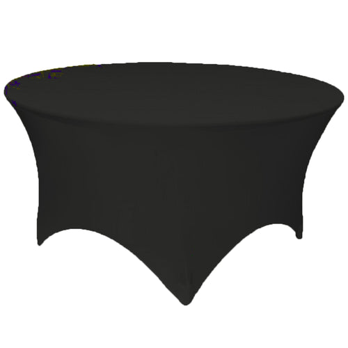 Black 6 ft. Round Spandex Tablecloth Fitted Stretch Table Cover Wedding Banquet Party - GWLinens