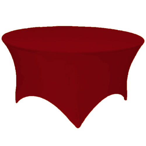 Burgundy 5 ft. Round Spandex Tablecloth Fitted Stretch Table Cover Wedding Banquet Party - GWLinens