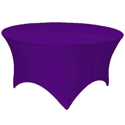 Purple 5 ft. Round Spandex Tablecloth Fitted Stretch Table Cover Wedding Banquet Party - GWLinens