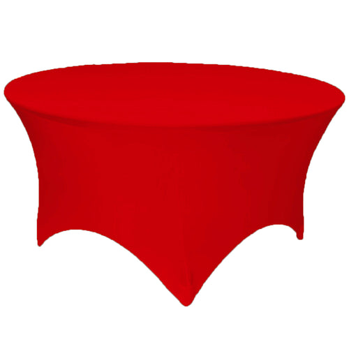 Red 6 ft. Round Spandex Tablecloth Fitted Stretch Table Cover Wedding Banquet Party - GWLinens