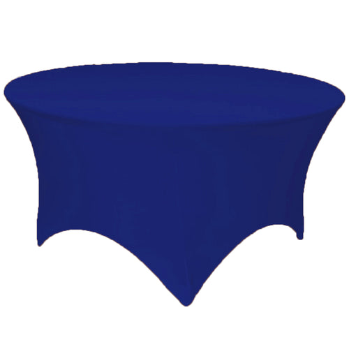 Royal Blue 5 ft. Round Spandex Tablecloth Fitted Stretch Table Cover Wedding Banquet Party - GWLinens