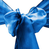 "10pcs Royal Blue Organza Sash 8""x108"" for Chair Cover Ribbons Bow Wedding Banquet Decor - GWLinens"