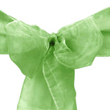 "10pcs Sage Organza Sash 8""x108"" for Chair Cover Ribbons Bow Wedding Banquet Decor - GWLinens"
