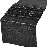 "Black Glitz Sequin Table Runners 12"" x 108"" for Wedding Party Banquet - GWLinens"