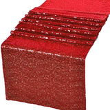 "Red Glitz Sequin Table Runners 12"" x 108"" for Wedding Party Banquet - GWLinens"