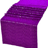"Purple Glitz Sequin Table Runners 12"" x 108"" for Wedding Party Banquet - GWLinens"