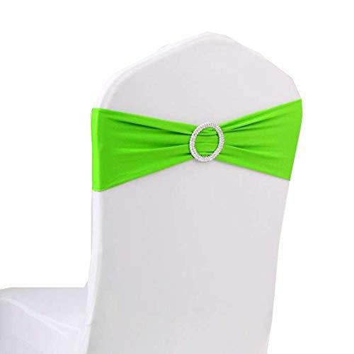 10pcs Apple Green Spandex Chair Bands With Buckle Wedding Banquet Sashes
