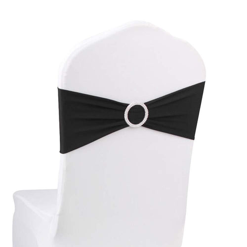 10pcs Black Spandex Chair Bands With Buckle Wedding Banquet Sashes