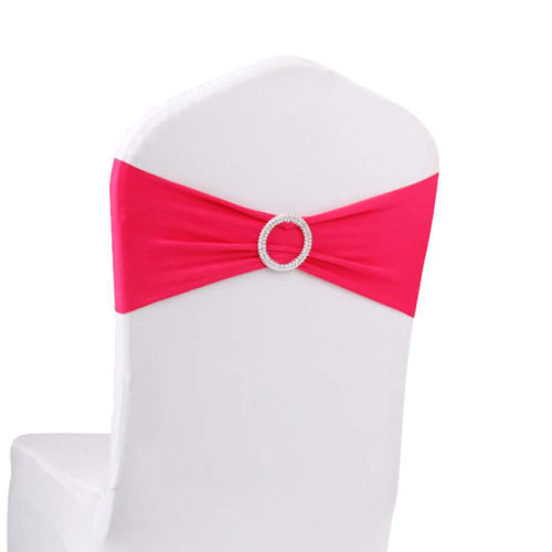 10pcs Fuchsia Spandex Chair Bands With Buckle Wedding Banquet Sashes