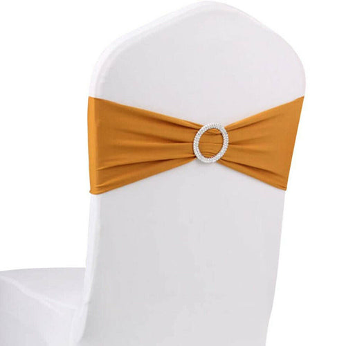 10pcs Gold Spandex Chair Bands With Buckle Wedding Banquet Sashes
