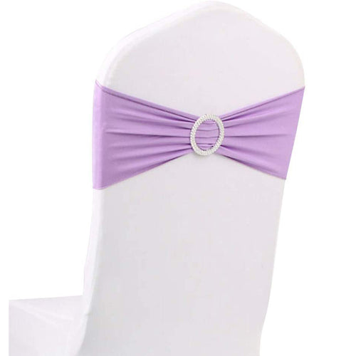10pcs Lavender Spandex Chair Bands With Buckle Wedding Banquet Sashes