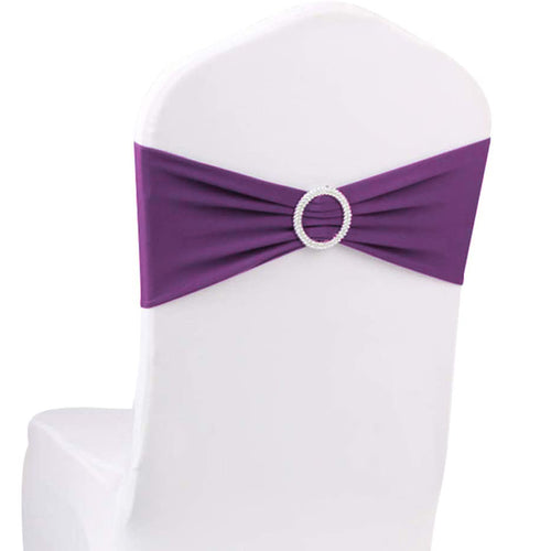 10pcs Purple Spandex Chair Bands With Buckle Wedding Banquet Sashes