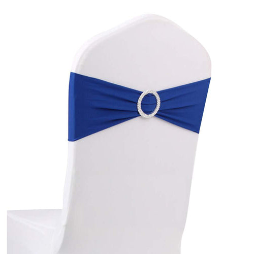 10pcs Royal Blue Spandex Chair Bands With Buckle Wedding Banquet Sashes