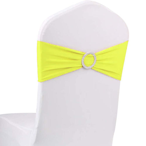 10pcs Yellow Spandex Chair Bands With Buckle Wedding Banquet Sashes