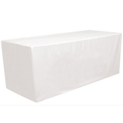 GW Linens White 6' ft. Fitted Polyester Tablecloth Table Cover Wedding Banquet Party - GWLinens