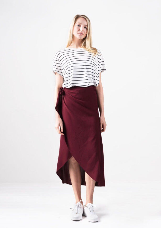 Wanderlust Wrap Skirt in Wine