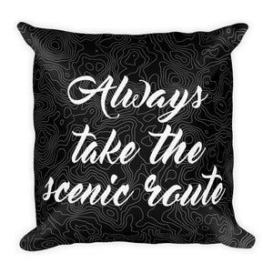 """Always Take The Scenic Route"" Topography Pillow"