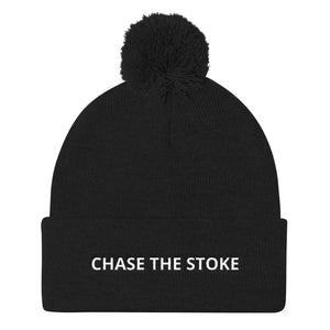 """Chase The Stoke"" Pom Pom Knit Beanie"