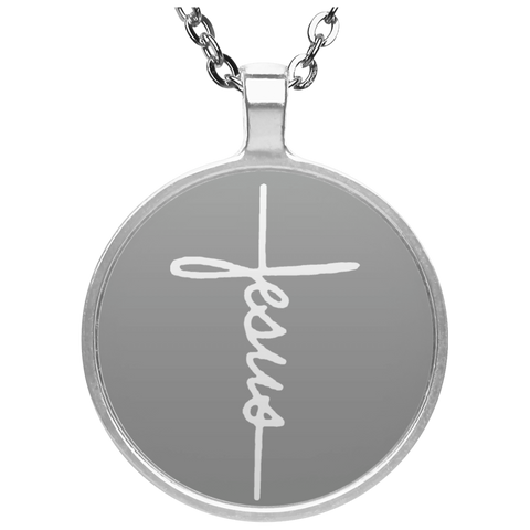 Jesus Silver Plated White Necklace