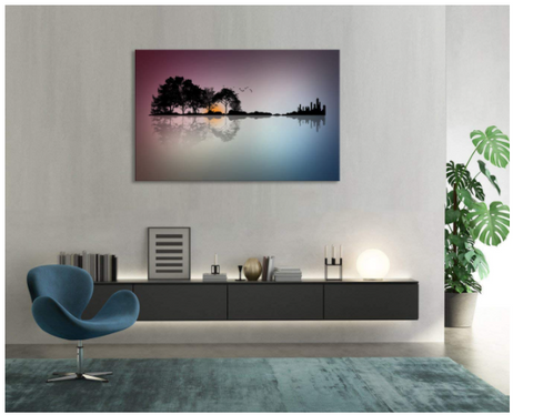 Canvas Wall Art Modern Music Paintings Abstract Tree Painting Prints Music Lover Home Decor for Living Room Framed Ready to Hang