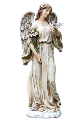"Angel with Dove Statue, 24.5"" High Resin and Stone"