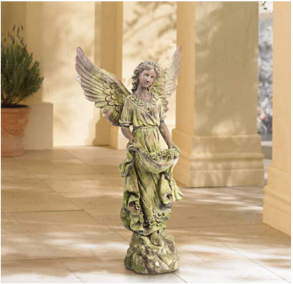 "Rustic Outdoor Statue Bird Bath 31"" High Outstretched Wing Angel for Yard Garden Patio Deck Home"